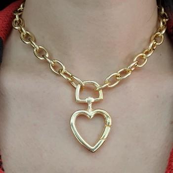 Colar Folheado Elos Coração Dourado