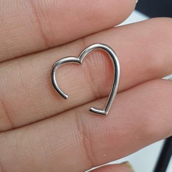 Piercing Fake Folheado Coração Prata