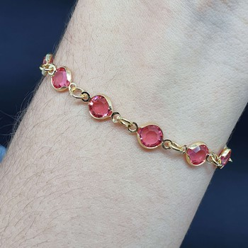 Pulseira Folheada Dourada Rosa