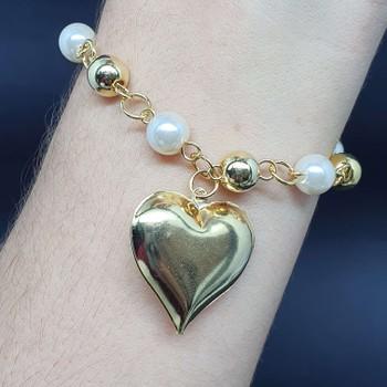 Pulseira Folheada Dourada Coração e Pérolas