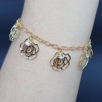 Pulseira Folheada Dourada Rosas