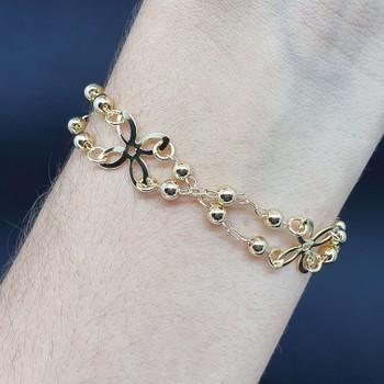 Pulseira Folheada Dourada Flor