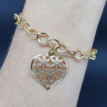 Pulseira Folheada Dourada Coração Florido