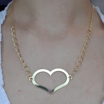 Colar Folheada Dourada Coração
