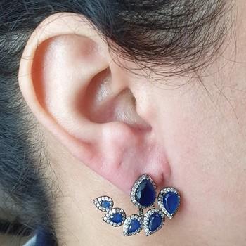 Brinco Ear Jacket Semi Joia Gota Ródio Negro Azul