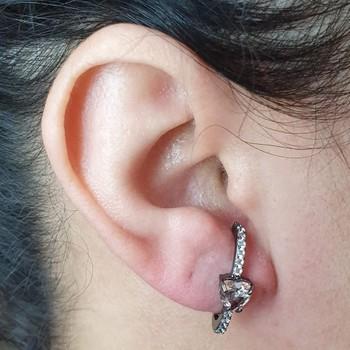 Brinco Ear Hook Semi Joia Coração Ródio Negro Rosê...