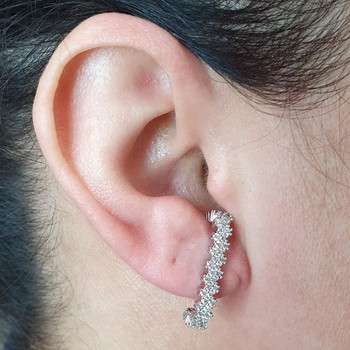 Brinco Ear Hook Semi Joia Lara Ródio Branco