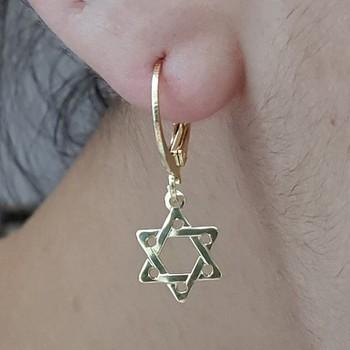Mini Argola Folheada Dourada Estrela De Davi