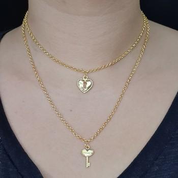 Colar Folheado Duplo Dourado Coração e Chave