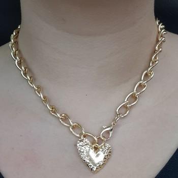 Colar Elos Dourado Coração