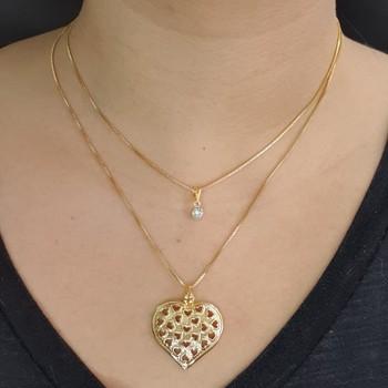 Colar Duplo Folheado Dourado Coração