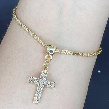 Pulseira Folheada Dourada Cruz