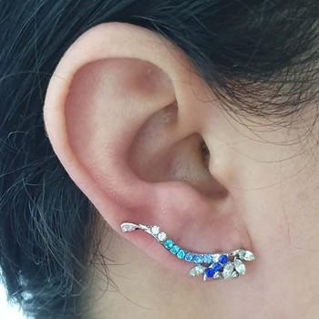 Brinco Detalhado Prata Azul