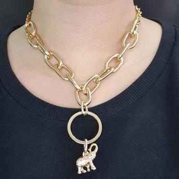 Colar Elos Dourado Elefante
