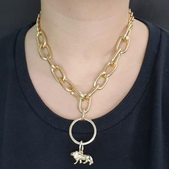 Colar Elos Dourado Leão