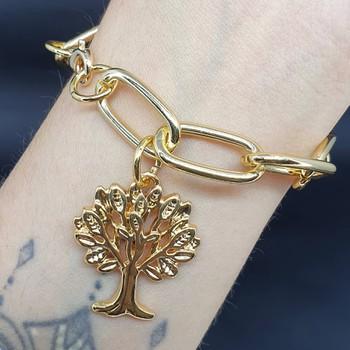 Pulseira Elos Dourada Árvore Da Vida