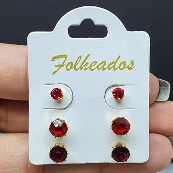 Kit De Brincos Folheados Dourado Vermelho