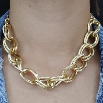 Colar Elos Dourado Texturizado
