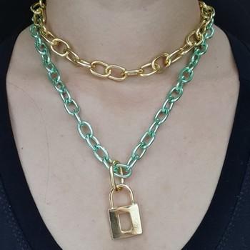 Colar Duplo Elos Dourado e Verde Cadeado