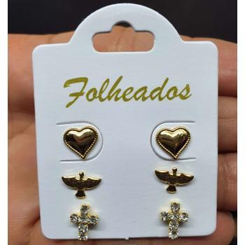 Kit De Brincos Folheados Dourado Cruz