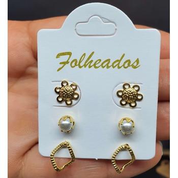 Kit De Brincos Folheados Dourado Flor
