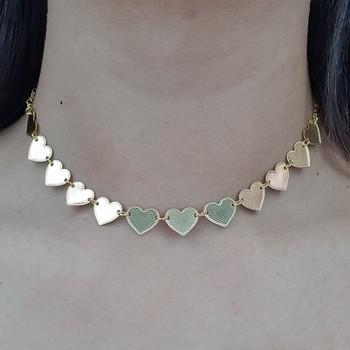 Colar Choker Folheado Dourado Coração