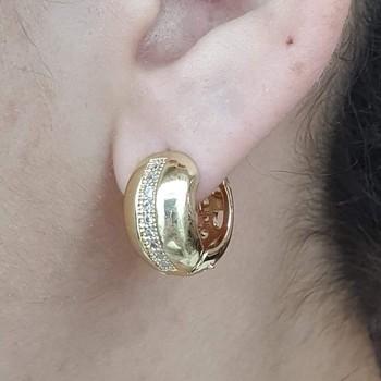 Mini Argola Zirconia Dourado