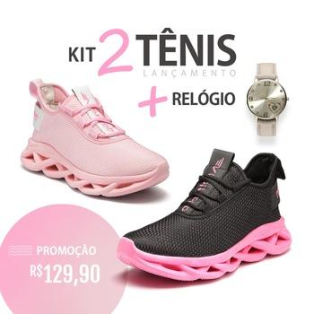 Kit 2 Tênis Limited Preto Sola Rosa + Tênis Limited Rosa Sola Rosa + Relógio Out - Adaption