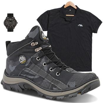 coturno tiger cinza + camisa preta + relógio de brinde - Adaption