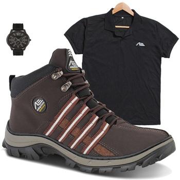 coturno tiger marrom + camisa preta + relógio de brinde - Adaption