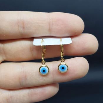 Mini Argola Folheada Dourado Olho Grego Azul Claro