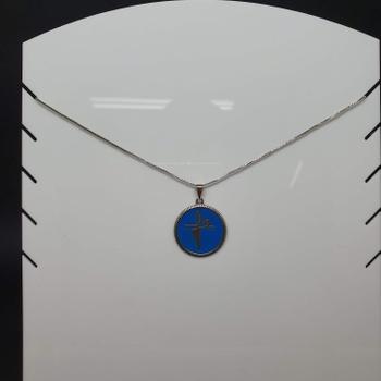 Colar Folheado Prata Fé Esmaltado Azul