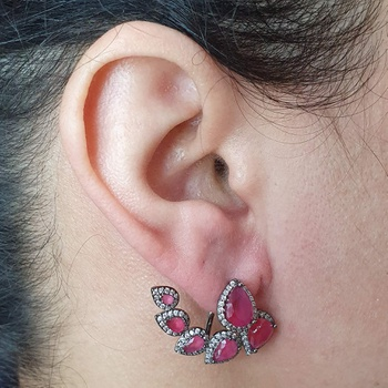 Brinco Ear Jacket Semi Joia Gota Ródio Negro Rosa
