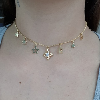 Colar Choker Folheado Dourado Estrelas