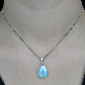 Colar Folheado Prata Cristal Azul
