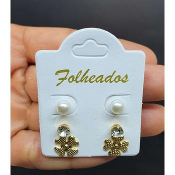 Kit De Brincos Folheados Dourado Trevo