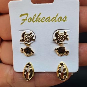 Kit De Brincos Folheados Dourado Búzios