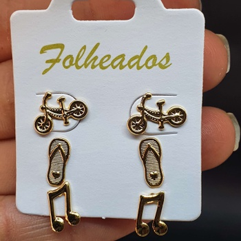 Kit De Brincos Folheados Dourado Nota Musical