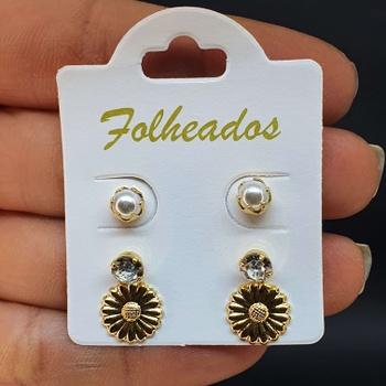 Kit De Brincos Folheados Dourado Girassol