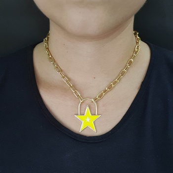 Colar Elos Estrela Esmaltada Dourada Amarelo