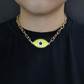 Colar Elos Dourado Olho Grego Amarelo