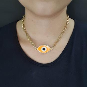 Colar Elos Dourado Olho Grego Laranja
