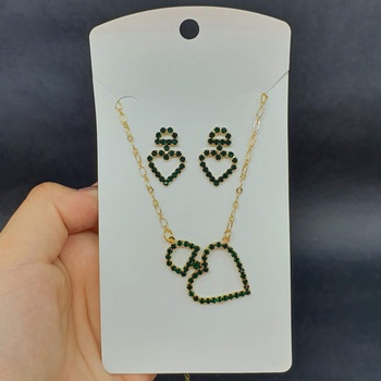 Conjunto Folheado Coração Dourado Verde