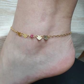 Tornozeleira Folheada Dourada Coração Rosa