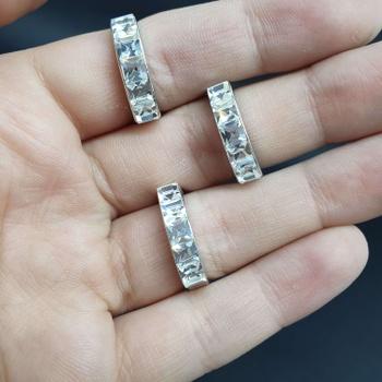 Kit Com 3 Anéis Folheados Prata Quadrado