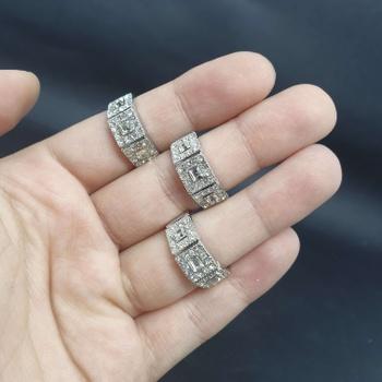 Kit Com 3 Anéis Prata Quadrado