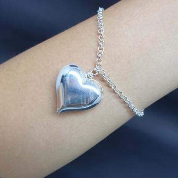 Pulseira Folheada Prata Coração