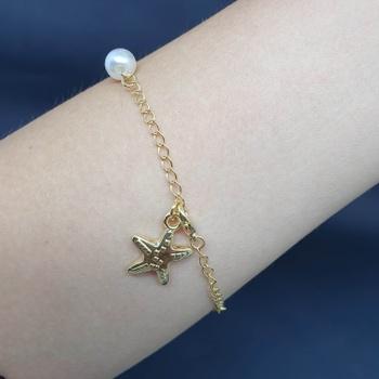 Pulseira Folheada Dourada Estrela Do Mar e Pérola