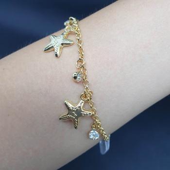 Pulseira Folheada Dourada Estrela Do Mar