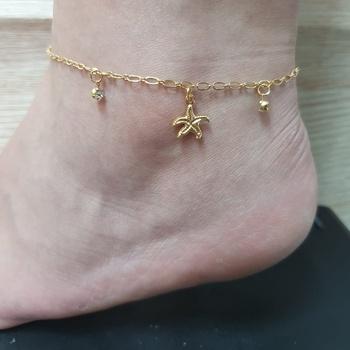 Tornozeleira Folheada Dourado Estrela Do Mar